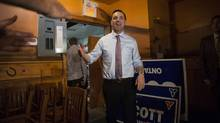 Ontario PC Leader Tim Hudak arrives at a campaign rally in Oakville, Ont., on June 10. (Chris Young/The Canadian Press)