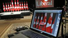 The Liberal Party sets up its gear ahead of Michael Ignatieff's election-night rally in Toronto on May 2, 2011. (Peter Power/Peter Power/The Globe and Mail)