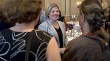 Ontario NDP leader Andrea Horwath speaks with women who attended the Canada2020 luncheon during a campaign stop in Ottawa on May 23. (Adrian Wyld/THE CANADIAN PRESS)