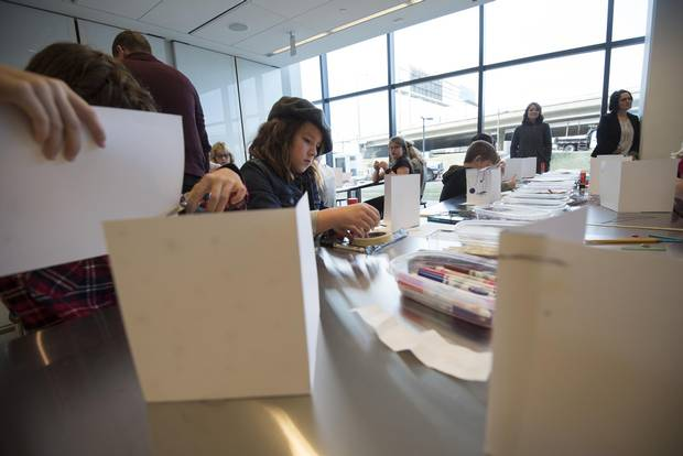Zara Gareau, 9, creates some art of her own during a media tour for the new Remai Modern in Saskatoon on Sept.19.