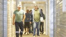 Miners leave the Rocanville Potash Corp. site. (David Stobbe for The Globe and Mail)