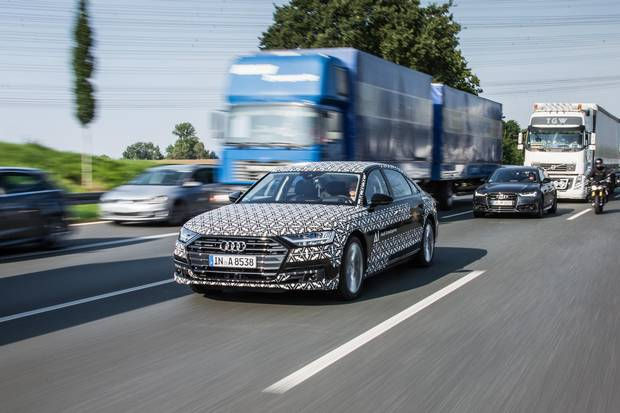 The Traffic Jam Pilot technology enables this A8 to navigate traffic jams without any input from the driver.