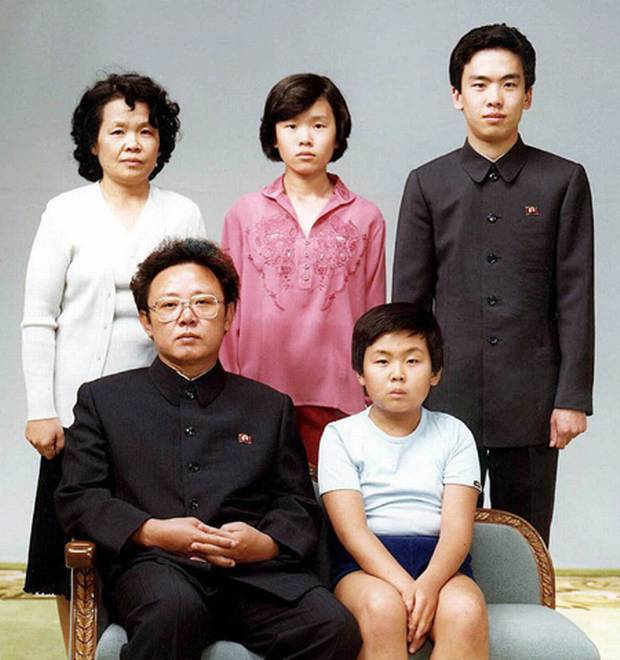 North Korean leader Kim Jong-il, front left, poses with his first-born son Kim Jong Nam, front right, and his relatives in Pyongyang in Aug. 19, 1981.
