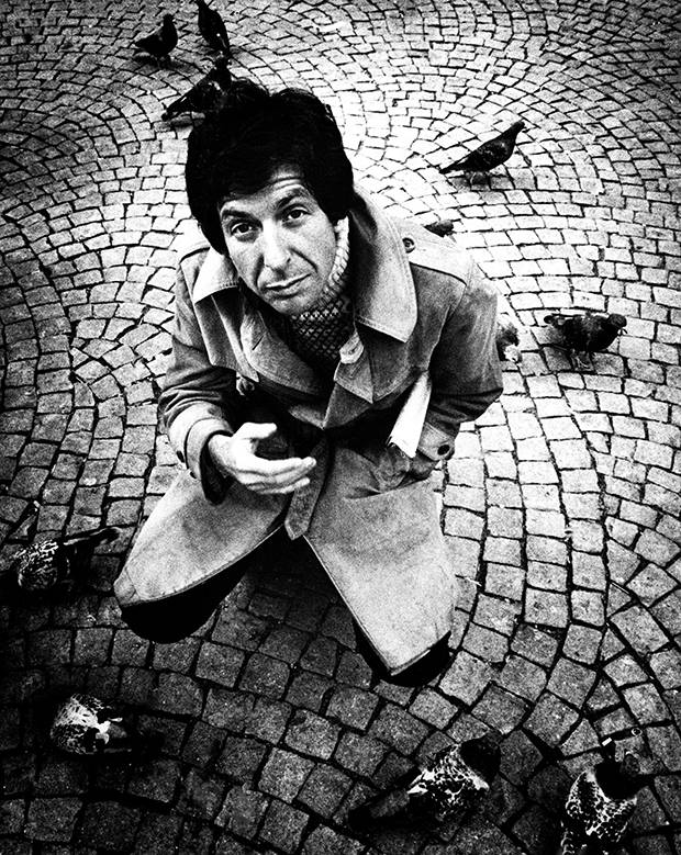 Photographed in Amsterdam in 1972, Leonard Cohen sported a more bohemian look than the melancholy that became his signature.
