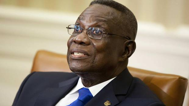 Ghana's President John Evans Atta Mills speaks during a meeting with U.S. President Barack Obama in the Oval Office of the White House in Washington in this March 8, 2012 file photograph. Mills has died, according to a statement sent by the president's office to Reuters on July 24, 2012.