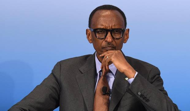 Rwanda's President Paul Kagame attends a panel talk in Germany on Feb. 18, 2017.