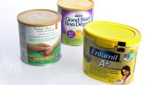 Baby formula from left, President's Choice, Good Start and Enfamil are photographed in the studio at 444 Front St. West Toronto, Ontario, Thursday December 26, 2013. (Kevin Van Paassen/The Globe and Mail)