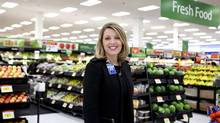 Walmart Canada President and CEO Shelley Broader in the fresh food section of the Walmart Supercentre in Toronto's Dufferin Mall. (Della Rollins For The Globe and Mail)
