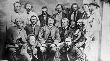 Metis leader Louis Riel with his councillors, circa 1869. (National Archives of Canada)