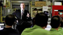Don Walker, chief executive of Magna International Inc., talks to employees during a meeting at the Magna plant in Brampton, Ont., on Wednesday, Nov. 16, 2011. (Fernando Morales/The Globe and Mail/Fernando Morales/The Globe and Mail)