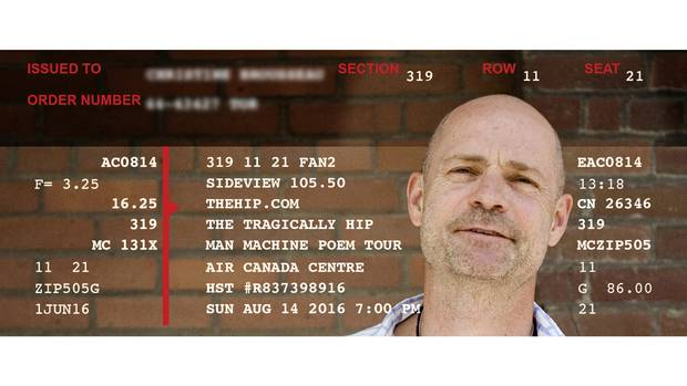 One lucky fan secured a pair of tickets for an August show in Toronto. We've obscured the name and order number of the ticket for privacy and dressed it up with an image of Hip frontman Gord Downie.