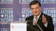 Finance Minister Jim Flaherty presents an update on the government's Action Plan at the University of Winnipeg. (John Woods)