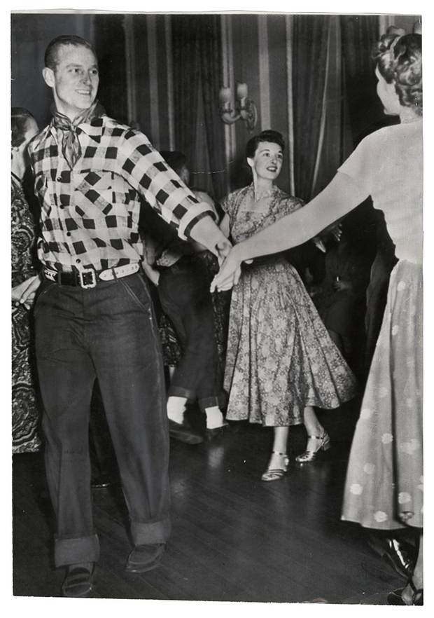 Frank Royal for The Associated Press, [Prince Square Dances -- Prince Philip, Duke of Edinburgh square dances at Government House here tonight as the Royal Couple enjoyed themselves at an old fashioned square dance], Ottawa, Ontario, Canada, October 11, 1951.