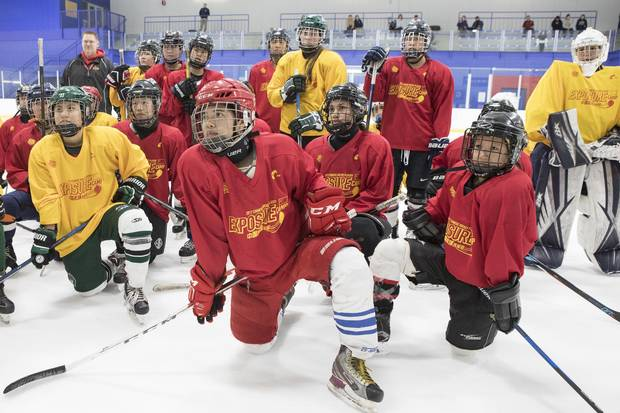 Some 60 female players came to the first day of evaluation skates, grouped throughout the day by age, with some as young as 8.