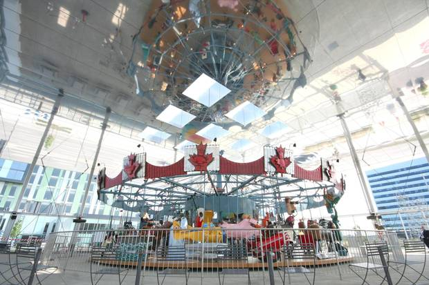 The Pride of Canada Carousel in Remington Group's 'Downtown Markham' has been attracting many residents, especially families with young kids.