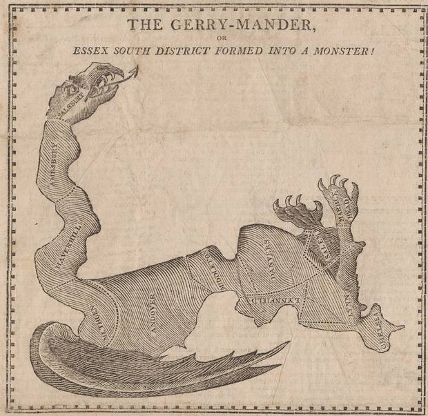 Gerrymandering gets its name from the 'Gerry-mander,' this 1812 cartoon by Elkanah Tisdale. Boston newspapers used it to mock Massachussetts governor Elbridge Gerry, who authorized a uniquely sinuous state-senate district that benefited his own party and which critics said looked like a salamander.