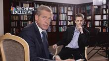 NBC Nightly News anchor Brian Williams, left, with former defence contractor Edward Snowden during an interview in Moscow (Reuters)