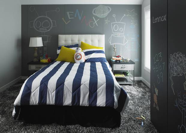 This undated photo provided by Formica Corporation shows a child's bedroom which includes the new Formica Writable Surfaces in the Black ChalkAble design and the Gray ChalkAble design.