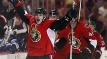 Ottawa Senators' Colin Greening celebrates scoring the game winning goal during the third period of their NHL game against the Toronto Maple Leafs' in Ottawa February 23, 2013. (BLAIR GABLE/REUTERS)
