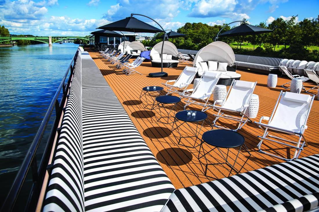 Rooftop -- The U by Uniworld brand's two ships, The A and The B, which will begin sailing in April 2018, are geared toward millennials (all guests must be between the ages of 21 and 45). The ships are being pitched as affordable, funky and fun, with vegan and vegetarian dining choices, Bluetooth speakers in the rooms and lots of outlets for passengers' devices. Shore tours are unconventional and would have been unheard of 25 years ago: a rooftop tour of Paris, rock climbing in Switzerland, cocktail classes in Amsterdam. Handout
