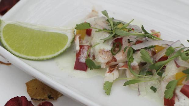 Lobster ceviche with coconut milk, lime and cilantro - The Globe and ...