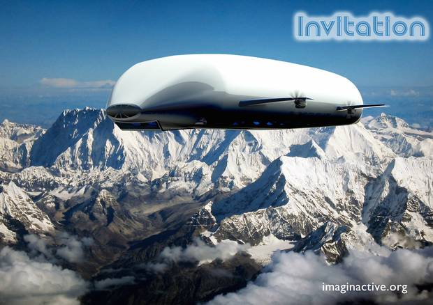 The Invitation is a cruising airship designed to take off with a dozen VIP passengers and their families.