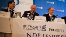 B.C. NDP leaderhip candidates Adrian Dix, Mike Farnworth and John Horgan. (Rafal Gerszak for The Globe and Mail)