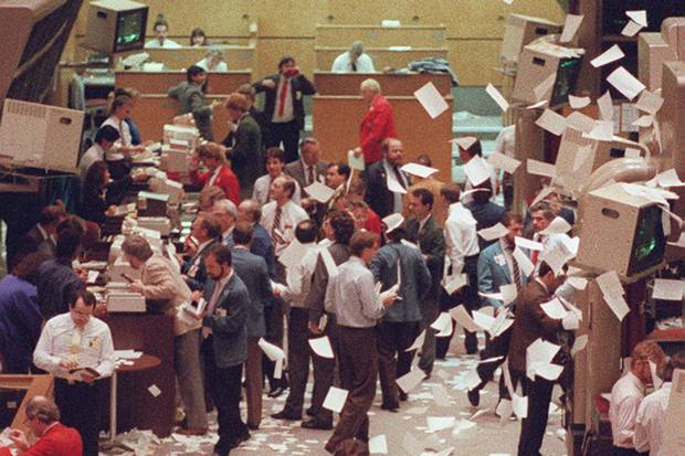 Paper flies through the air as trading closes at the Toronto Stock Exchange on Oct. 19, 1987, better known as Black Monday.