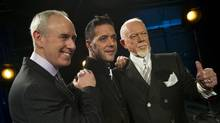 From left, broadcasters Ron MacLean, George Stroumboulopoulos and Don Cherry pose for photos following an announcement by Rogers as they unveiled their broadcast team for the upcoming NHL Season in Toronto, Ontario March 10/2014. (Kevin Van Paassen/The Globe and Mail)