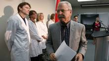 Canada's Agriculture Minister Gerry Ritz leaves a news conference after answering questions regarding the E. Coli outbreak in Canada, at the Canadian Food Inspection Agency (CFIA) Laboratory in Calgary, Alberta, October 3, 2012. (TODD KOROL/REUTERS)