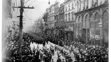 Soldiers leaving for the Boer War march down Yonge Street in Toronto in 1899. (ALEXANDER GALBRAITH/GALBRAITH COLLECTION)
