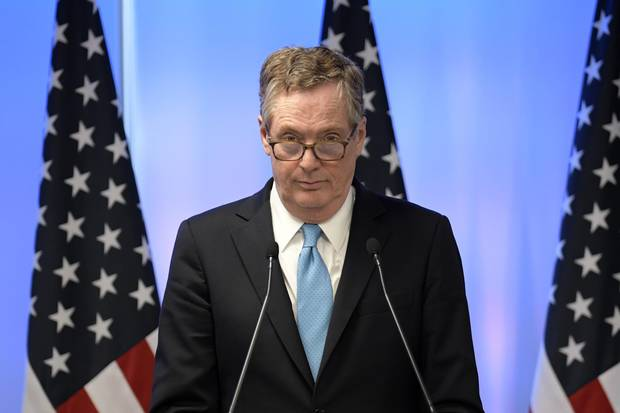 U.S. Trade Representative Robert Lighthizer delivers a speech during a press conference on the last day of the second round of NAFTA talks.