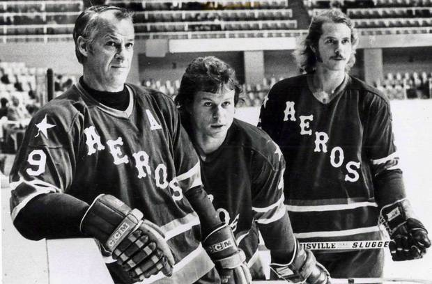 Gordie un-retired to play with sons Mark (centre) and Marty.