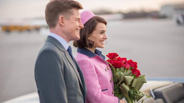 Caspar Phillipson and Natalie Portman star as John F. Kennedy and his wife in the film Jackie.
