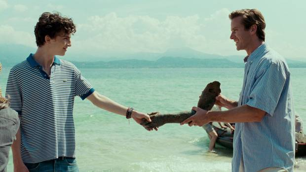 Timothée Chalamet as Elio and Armie Hammer as Oliver in Call Me By Your Name.