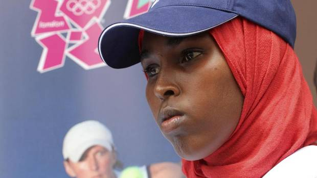 Zamzam Mohamud Farah, Somalia's woman representative to the 2012 Olympics, is seen during her send-off ceremony at the presidential palace in the capital Mogadishu, July 11, 2012.