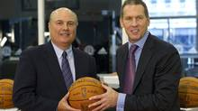Toronto Raptors new vice-president of basketball operations Ed Stefanski (left) poses with GM Bryan Colangelo following a news conference Toronto on Thursday October 27, 2011. (Frank Gunn/THE CANADIAN PRESS)