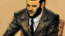 In a courtroom sketch, Canadian detainee Omar Khadr listens the taped testimony of Navy Capt. Patrick McCarthy, the former top military legal adviser at the detention center, played upon request by the military jury right before they announced their verdict, near the end of his sentence trial at Camp Justice, in Guantanamo Bay U.S. Naval Base, Cuba, Sunday Oct. 31, 2010. (Janet Hamlin/THE CANADIAN PRESS)