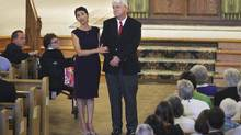 John and Diane Foley speak of their son, American journalist James Foley, at a Mass service for him at Our Lady of the Holy Rosary in Rochester, N.H., Aug. 24, 2014. (CHERYL SENTER/NYT)