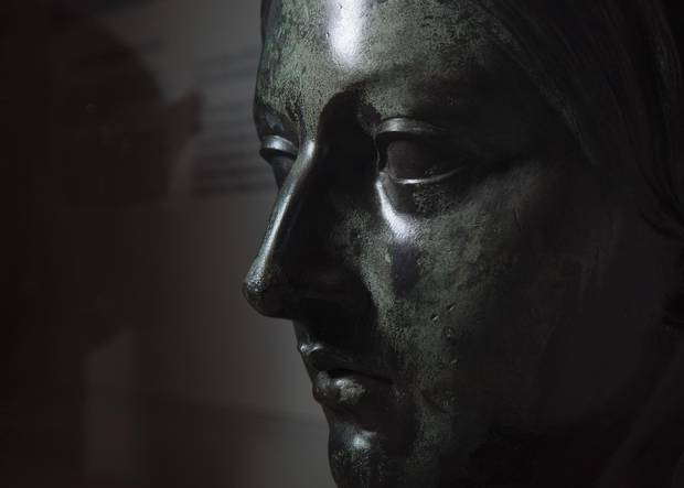 A detail of the separated head of the Queen Victoria statue on display at the Musee de la Civilization in Quebec City on Monday, May 15, 2017.