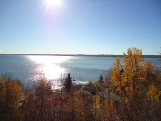 The view from above Wabamun Lake.