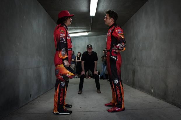 From left, Seth MacFarlane, Steven Soderbergh and Sebastian Stan during filming of Logan Lucky.