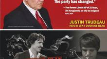 The front and back of a leaflet attacking Justin Trudeau, is shown. (THE CANADIAN PRESS)