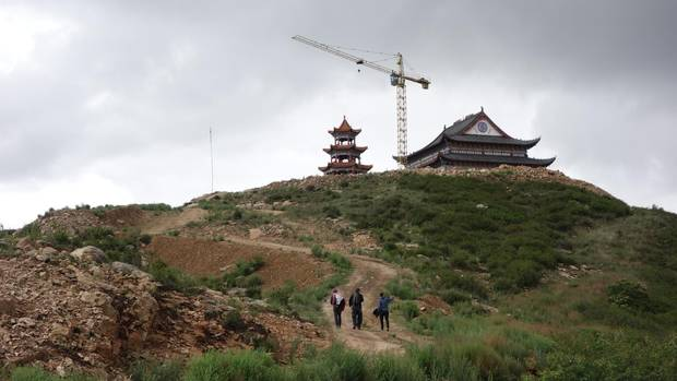 A temple still under construction in China's Hebei province offers a quiet hike up a hill.