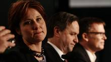 Then British Columbia Liberal leadership candidates Christy Clark, from left, George Abbott and Kevin Falcon look on during a debate at the B.C. Liberal Party Convention in Vancouver, B.C., on Saturday February 12, 2011. (Darryl Dyck/ The Canadian Press/Darryl Dyck/ The Canadian Press)