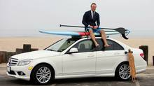 Fraser Walters and his Mercedes-Benz C300 by the beach in Marina del Rey, Calif. (Ann Johansson for The Globe and Mail)