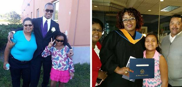 Left: Brenda Desmond, Lionel Desmond and Aaliyah at a relative's wedding in September, 2014. Right: Shanna Desmond, flanked by her parents Thelma and Ricky Borden, and Aaliyah at Shanna's nursing school graduation at St. Francis Xavier University in Antigonish on May 1, 2016.