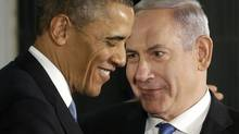 President Barack Obama and Israeli Prime Minister Benjamin Netanyahu huddle during their joint news conference in Jerusalem, Israel,Wednesday, March 20, 2013. (Pablo Martinez Monsivais/AP)