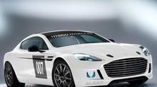 Hydrogen-powered Aston Martin Rapide S race car. (Aston Martin)