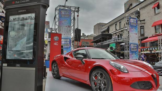 2015 alfa romeo 4c debuts at montreal grand prix party the globe and mail. Black Bedroom Furniture Sets. Home Design Ideas